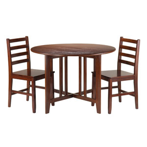 Alamo 3-Piece Round Drop Leaf Table with 2 Hamilton Ladder Back Chairs