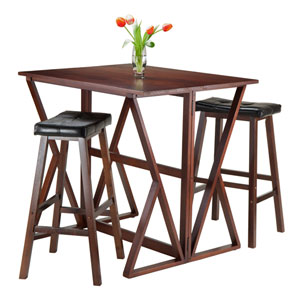Harrington 3-Piece Drop Leaf High Table, with Two 29-Inch Cushion Saddle Seat Stools