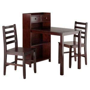 Tyler 3-Piece Set Table, Storage Shelf with Ladder Back Chairs