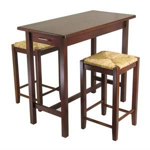 3-Piece Kitchen Island Set with 2 Rush Seat Stools