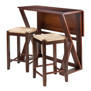 Harrington 3-Piece Drop Leaf High Table, with Two 24-Inch Rush Seat Stools