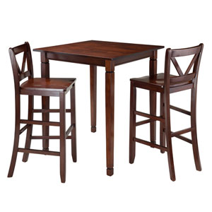 Kingsgate 3-Piece Dining Table with 2 Bar V-Back Chairs