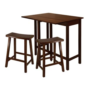 Lynnwood Three-Piece High Drop Leaf Table with 24-Inch Saddle Seat Stool