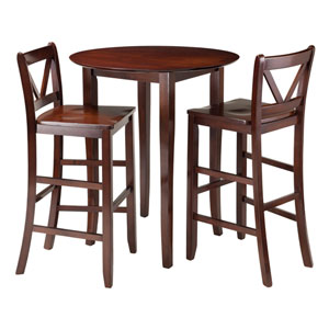 Fiona 3-Piece High Round Table with 2 Bar V-Back Stool