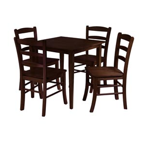Groveland Five-Piece Antique Walnut Square Dining Set