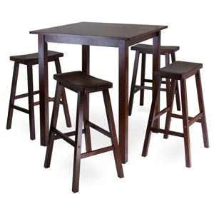 Parkland Five-Piece Square Pub Table Set with Saddle Seat Stools
