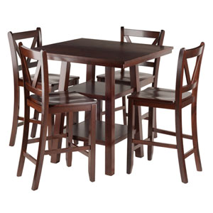 Orlando 5-Piece Set High Table, 2 Shelves with 4 V-Back Counter Stools