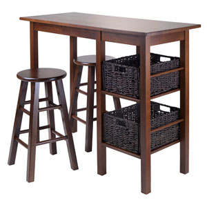 Egan 5 Piece Table with Two 24-Inch Square Legs Stools and 2 Baskets