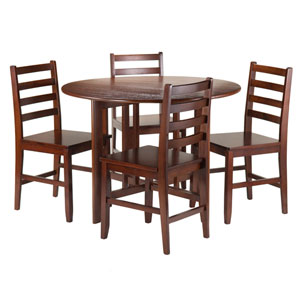 Alamo 5-Piece Round Drop Leaf Table with 4 Hamilton Ladder Back