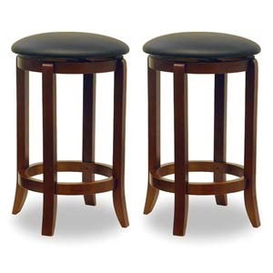 24-Inch Black Faux Leather Swivel Stools, Set of Two