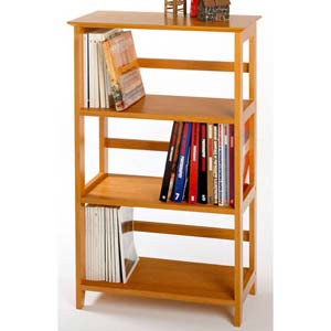Honey Pine Four-Tier Bookshelf