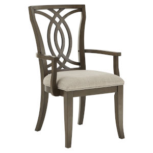 Gloria Dark Walnut and Beige Dining Arm Chair, Set of Two