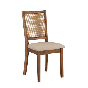 Caroline Beige and Brown Rattan Back Dining Chair, Set of Two