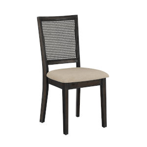 Caroline Beige and Black Rattan Back Dining Chair, Set of Two