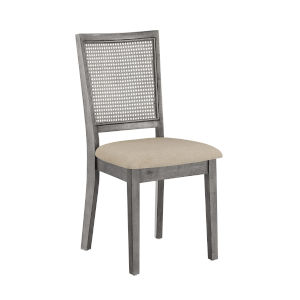 Caroline Beige and Gray Rattan Back Dining Chair, Set of Two