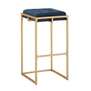 Minnie Gold and Blue Velvet Button Tufted Bar Stool, Set of Two
