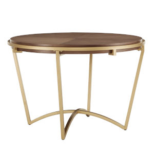 Minnie Gold and Natural Dining Table with Metal Base