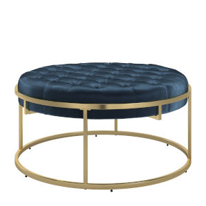 Minnie Blue and Gold Velvet Round Tufted Cocktail Ottoman