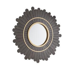Elaine Dark Brown Round Sunburst Wall Mirror