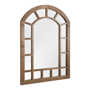Wesley Wood Arched Windowpane Wall Mirror