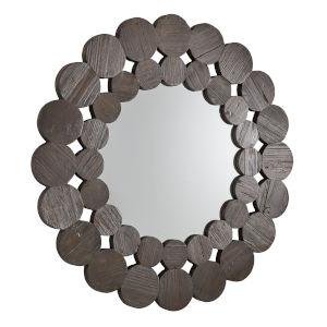 Katherine Dark Brown Reclamied Wood 39-Inch Round Wall Mirror
