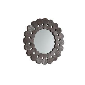 Katherine Dark Brown Reclamied Wood 24-Inch Round Wall Mirror