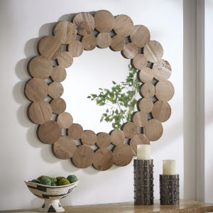 Katherine Natural Reclaimed Wood 39-Inch Round Wall Mirror