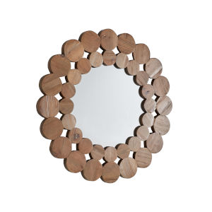 Katherine Natural Reclaimed Wood 32-Inch Round Wall Mirror