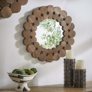 Katherine Natural Reclaimed Wood 24-Inch Round Wall Mirror