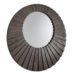 Virginia Dark Brown Reclaimed Wood 39-Inch Round Seashell Wall Mirror