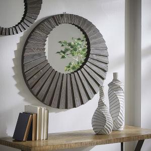 Virginia Dark Brown Reclaimed Wood 31-Inch Round Seashell Wall Mirror