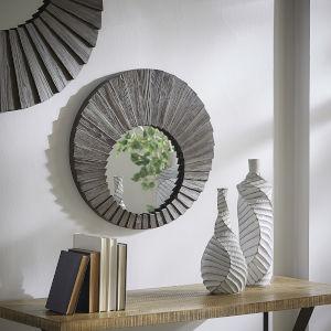 Virginia Dark Brown Reclaimed Wood 24-Inch Round Seashell Wall Mirror