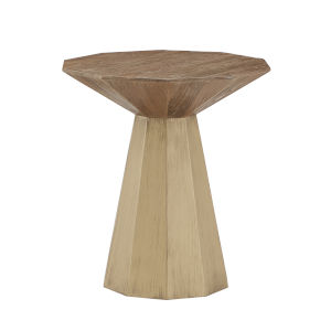 Mercury Antique Gold Reclaimed Wood Decagon End Table