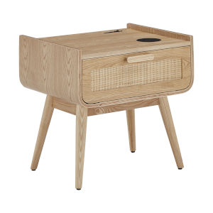 Chandler Natural End Table with Wicker Drawer Front and Wireless Charger