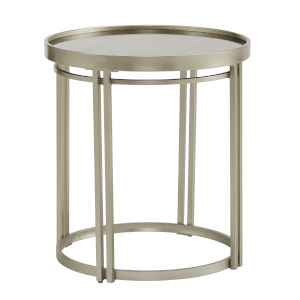Samantha Champagne Silver Round Antique Mirror Top End Table