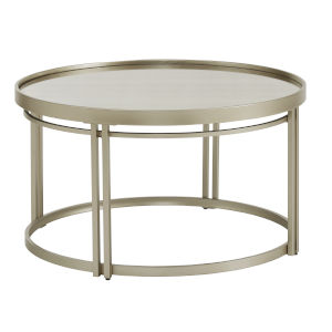 Samantha Champagne Silver Antique Mirror Top Coffee Table