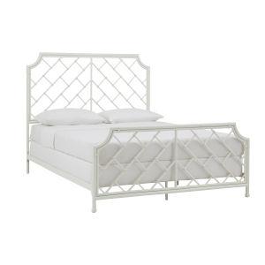 Falkner White Geometric Metal Queen Bed