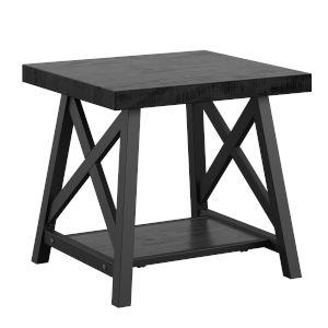 Gio Black X-Base End Table with Shelf
