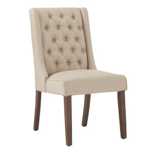 Donna Beige Tufted Linen Upholstered Dining Chair, Set of Two