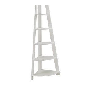 Roark White Corner Ladder Bookcase