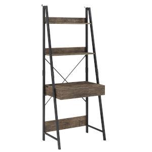 Norman Black Single Drawer Ladder Desk with USB Charging Station