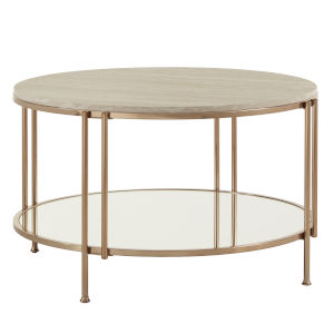 Koga Champagne Gold Cocktail Table with Faux Marble Top and Mirror Bottom