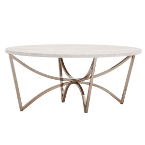 Astrid Champagne Gold and White Cocktail Table with Faux Marble Top