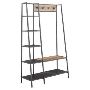 Marrow Matte Black Metal Coar Rack with Ladder Shelf