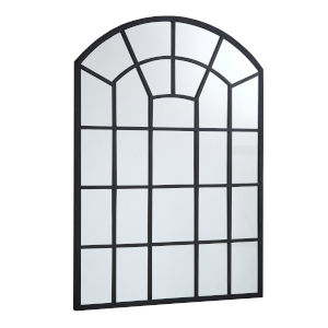 Laurel Black Arched Windowpane Wall Mirror