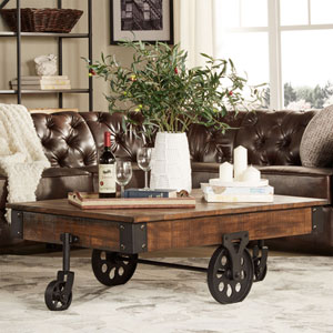 Rustic Cocoa Factory Cart Cocktail Table