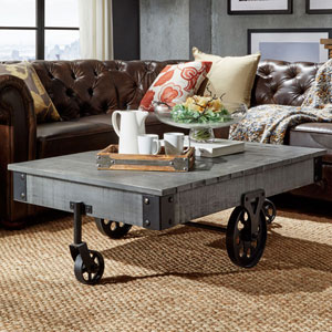 Rustic Weathered Grey Factory Cart Cocktail Table