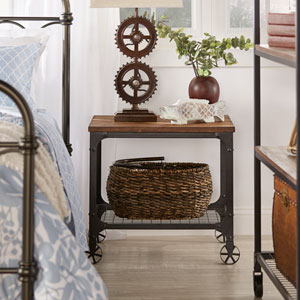 Cooper Rustic Industrial Accent Table
