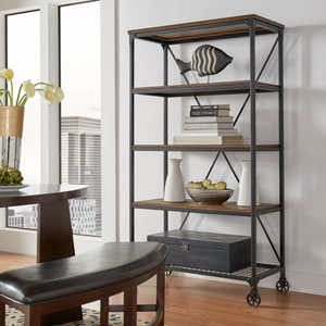 Cooper Rustic Industrial Wide Bookshelf