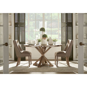 Nocona Grey Oak Steel Banded Round Trestle Base Dining Table